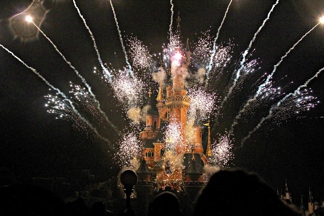 Fireworks on the castle at Disneyland Paris