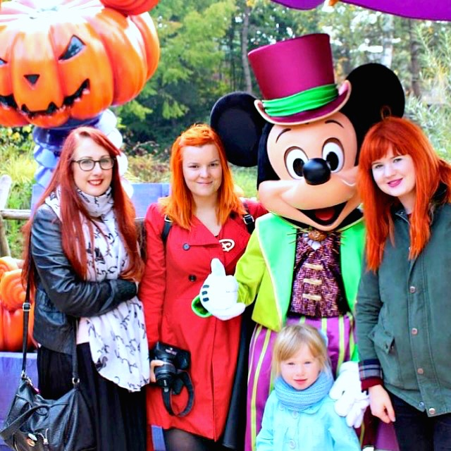 girls with halloween Mickey at Disneyland Paris