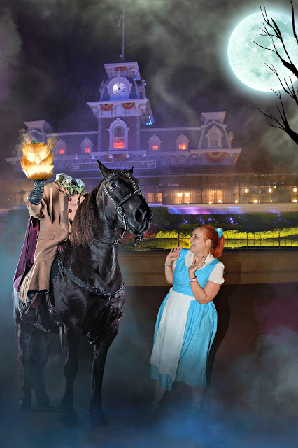Woman in Belle Cosplay with the Headless Horseman during Mickey's Not so Scary Halloween Party