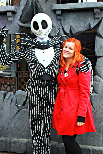 woman with jack skellington during Halloween at Disneyland Paris