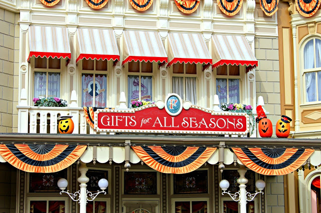 Shops on Main street dressed for Halloween at Disneyland Paris
