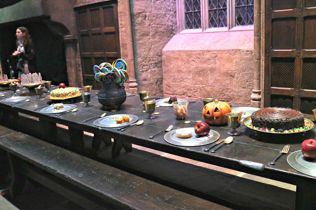 A Halloween feast in the great hall at the Warner Bros Studio Tour