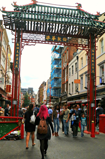 Milly at the entrance to China Town London