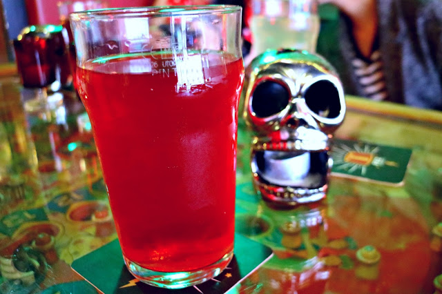 a red pint in the pub