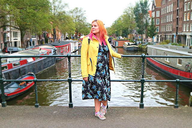 the dress under a coat in Amsterdam