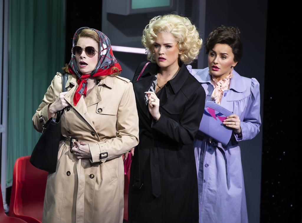 three women in disguise looking shocked 9 to 5 musical
