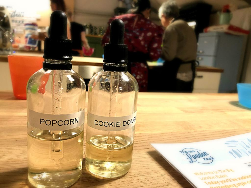 bottles of cookie dough and popcorn flavourings