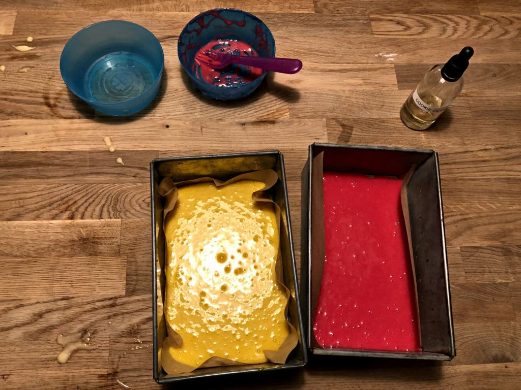 red and yellow cake mixtures