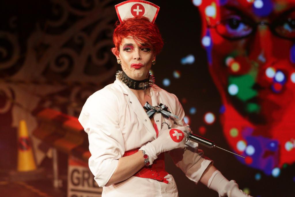 Matthew Baldwin playing Lady Bizarre in Queereteria TV