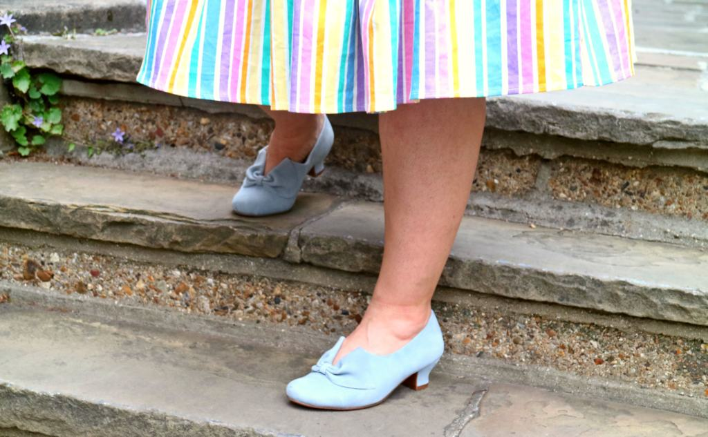 blue hotter heeled shoes on stairs