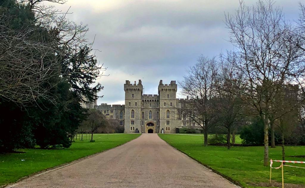 path leading up to windsor castle in the background