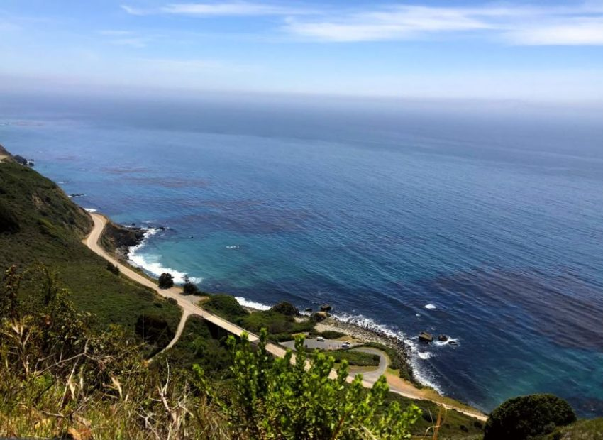 sea and road of big sur from a mountain