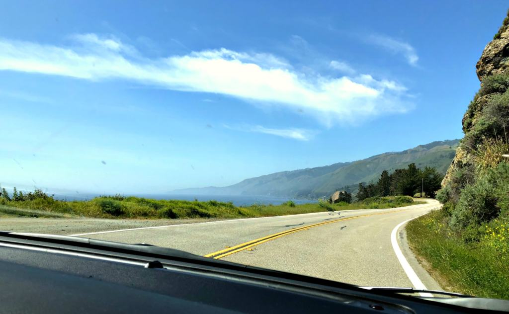 view of the big sur from inside a car