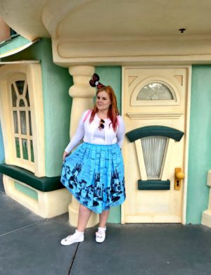 woman in front of a door in toontown, Disneyland