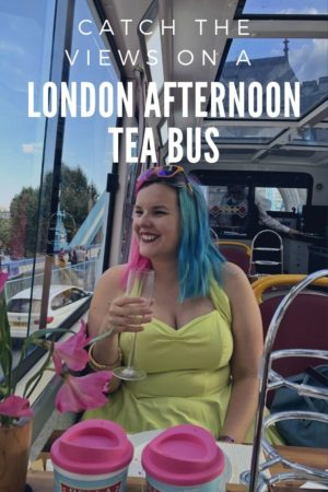 Catching the views on a London Afternoon Tea Bus pinterest pin