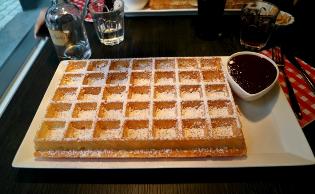 waffle with Belgian chocolate sauce in Brugge