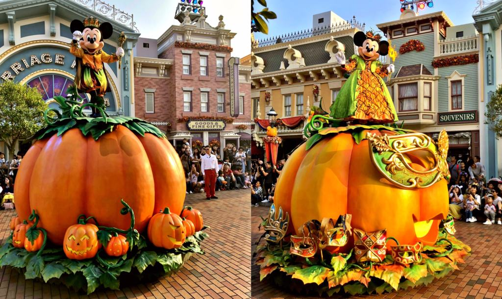 Mickey and Minnie Mouse on pumpkins in the Halloween Street party disneyland