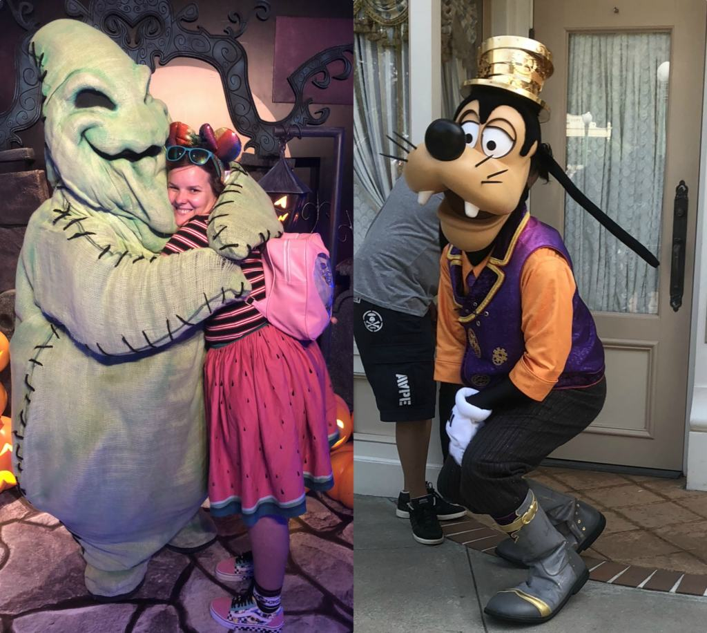 woman in minnie ears hugging oggie boogie and goofy in Halloween clothes in Hong Kong Disneyland