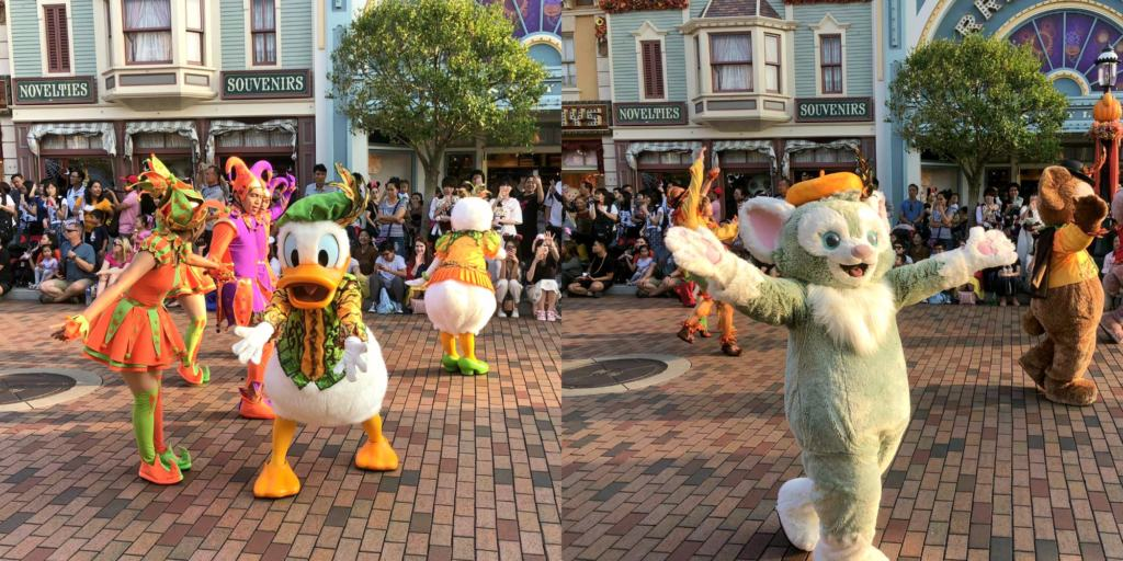 donald and other characters at Mickey's Halloween Town Street Party