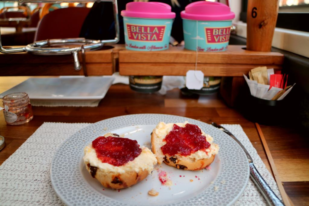 scones with creme and jam on the afternoon tea bus