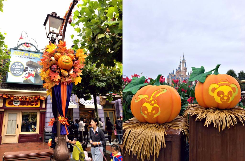 pumpkin character decorations for Halloween at Shanghai Disneyland