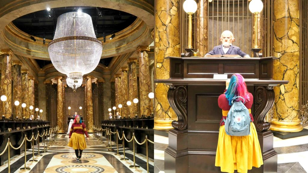 collage of woman in Gringotts bank set at Warner Bros. Studio tour