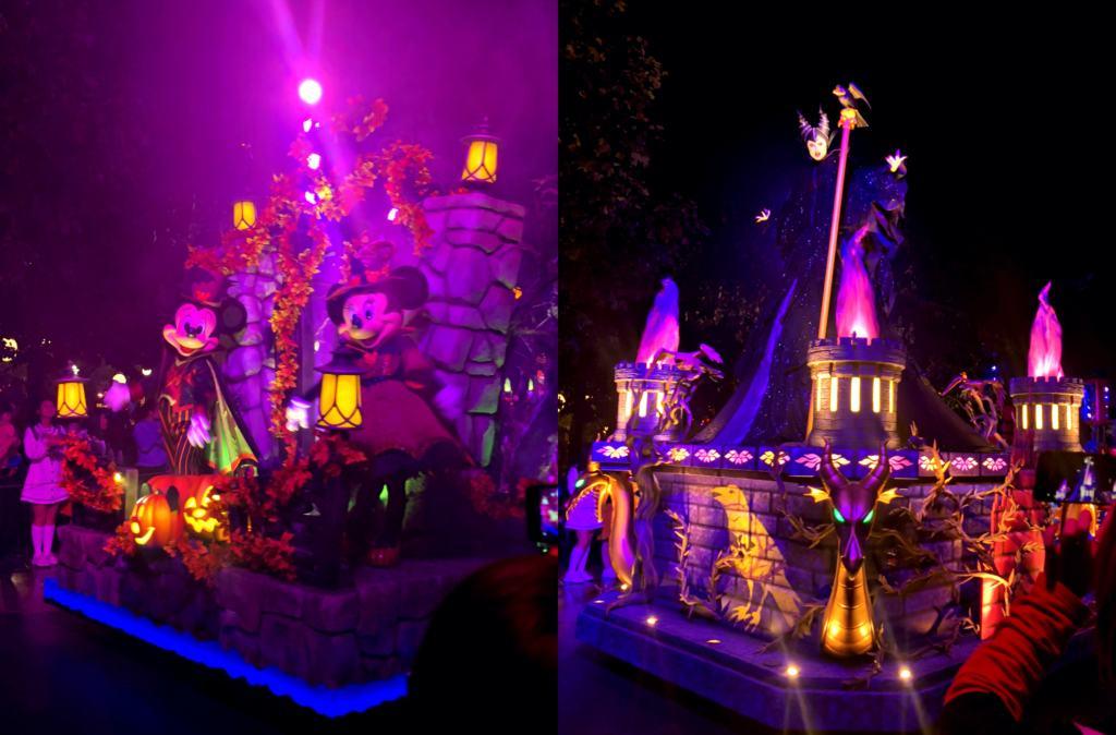Disney characters on a Halloween at Shanghai Disneyland parade
