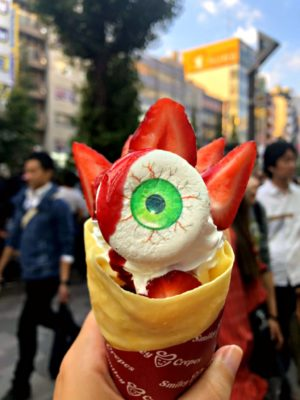 crepe with strawberries and eye shapped marshmallow for Halloween in Tokyo
