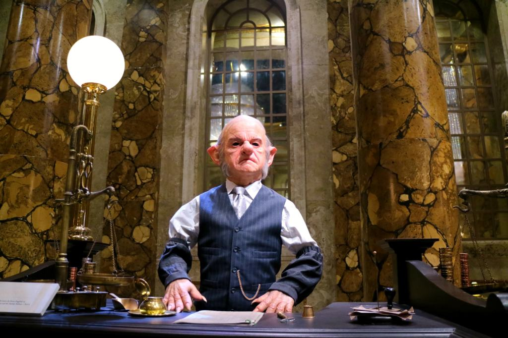 Goblin in Gringotts bank at the Warner Bros. Studio