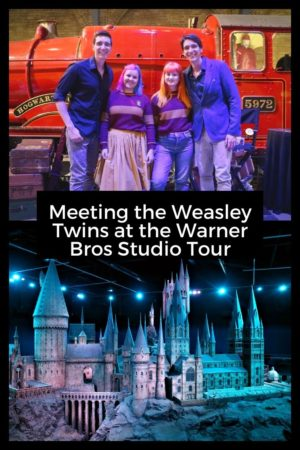 Meeting the Weasley Twins at the Warner Bros Studio pinterest pin