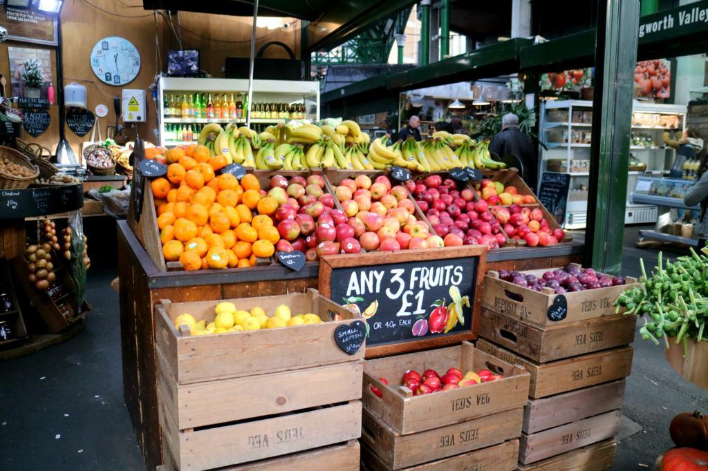 Fresh food in Borough Market found when exploring London Bridge
