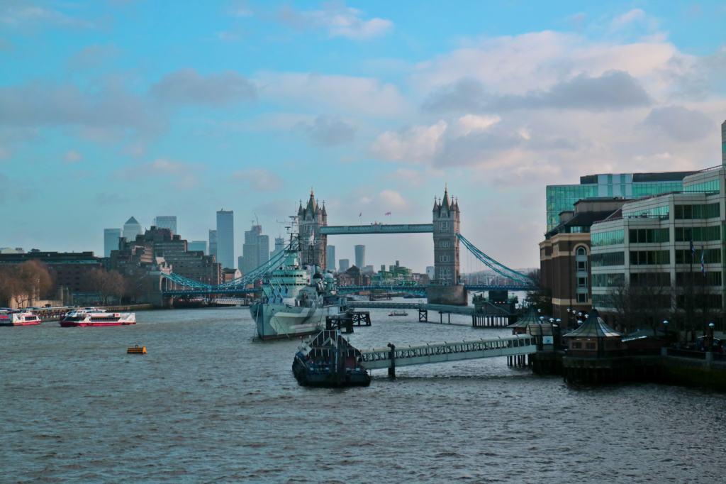 View of Tower Bridge from London Bridge in Winter