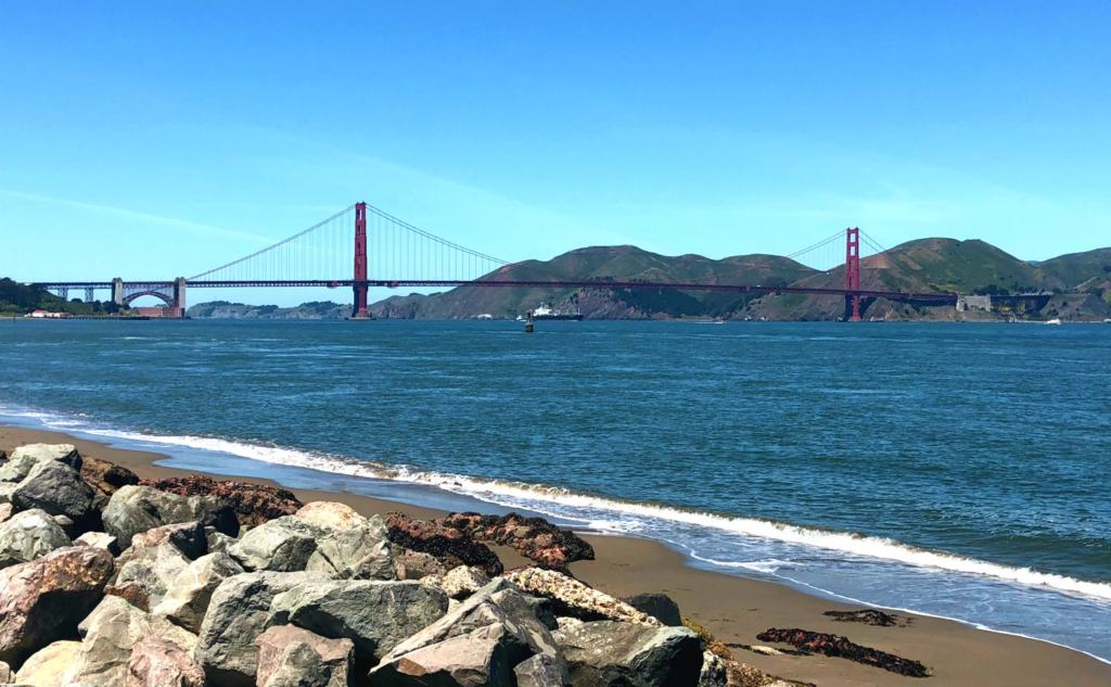 golden gate bridge has seen from the beach in San Francisco