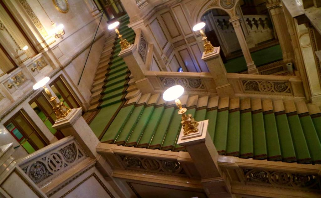 the grand stair case in the Vienna Opera House