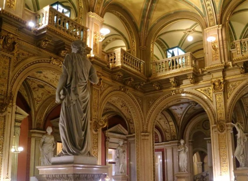 decorative statues in the grand staircase on the Vienna State Opera House tour