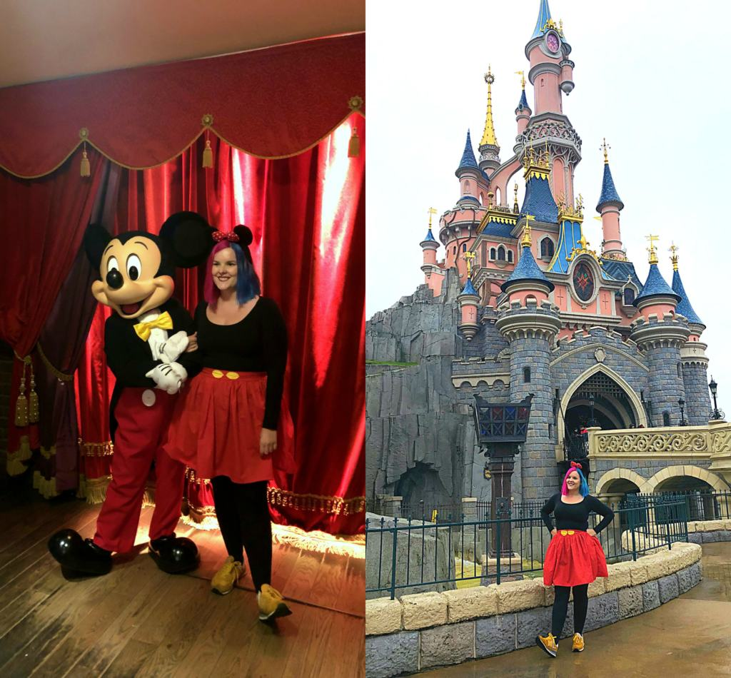 kariss with Mickey and kariss in Mickey Cosplay in front of the castle in Disneyland Paris