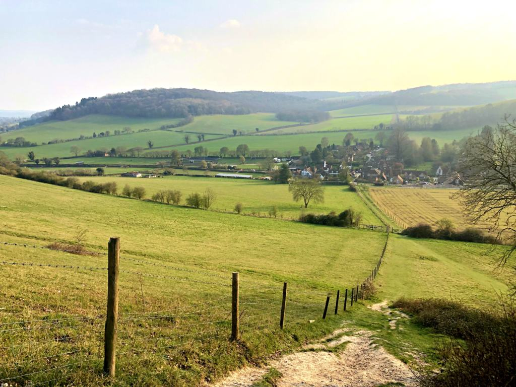 Overlooking Turville Village from the surrounding countryside