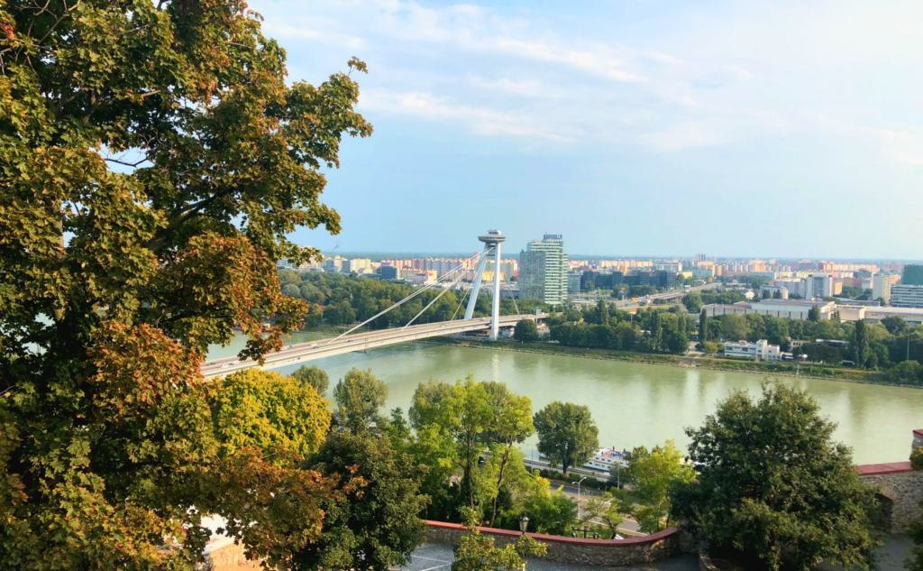 UFO observation tower as viewed from Bratislava Castle