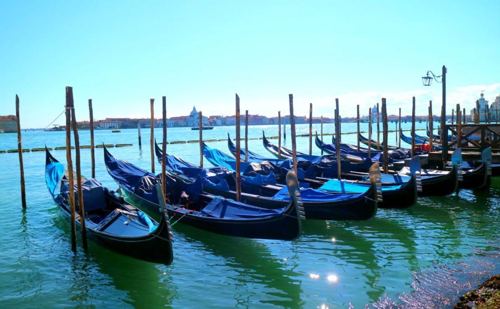 Gondolas during the Venice Corona Virus outbreak